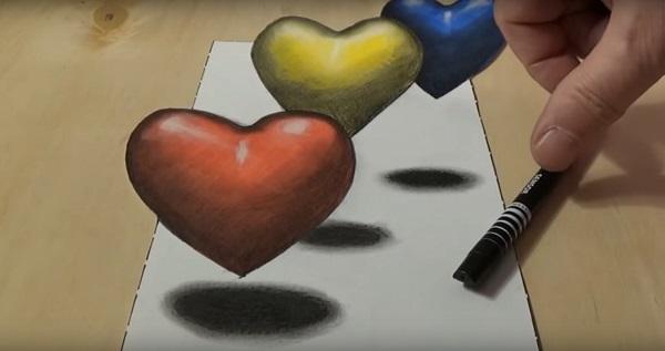 3д рисунок сердце