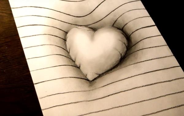 3д сердце рисунок