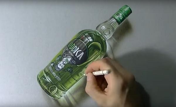 3д картина бутылка