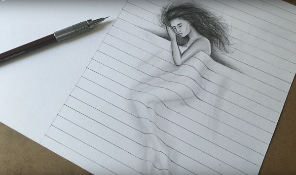 рисунок 3д девушка