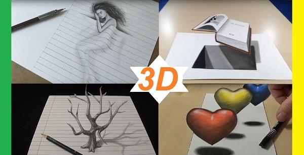Красивые 3D рисунки карандашом, фото и видео