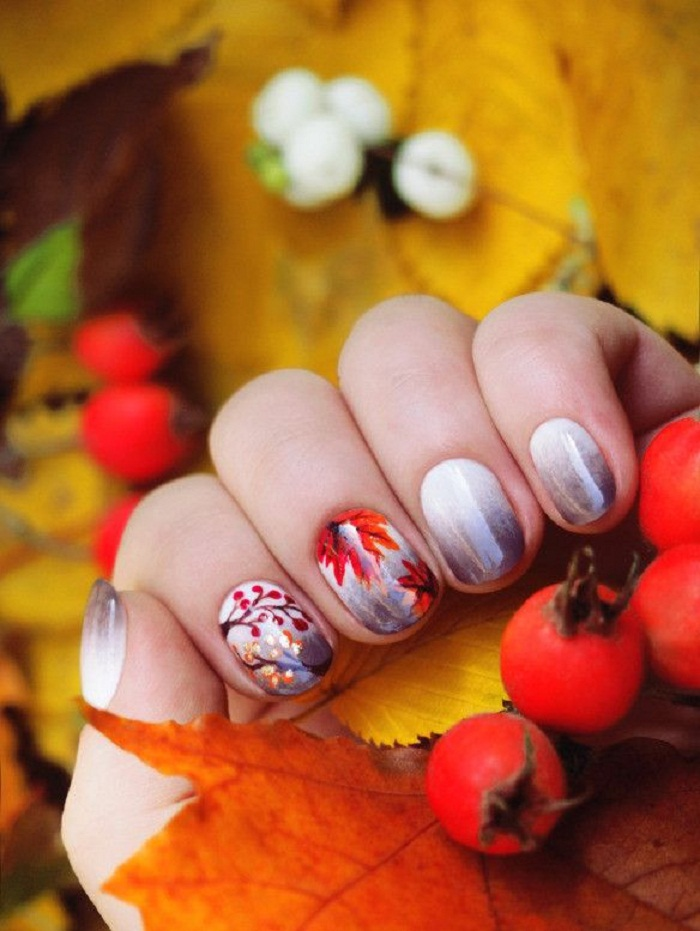 Ногти гель лаком тема осень фото