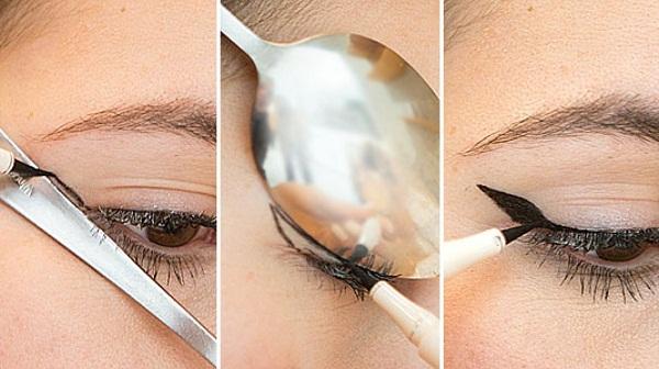 как нарисовать стрелки на глазах ложкой