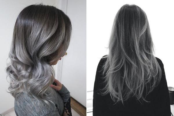 Серый балаяж на русые волосы