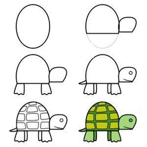 рисунок черепаха карандашом