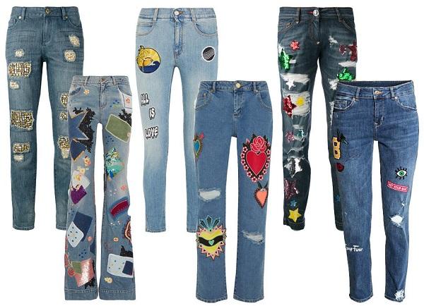 джинсы со вставками
