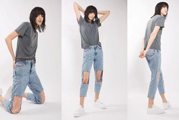 джинсы с дырками на коленях