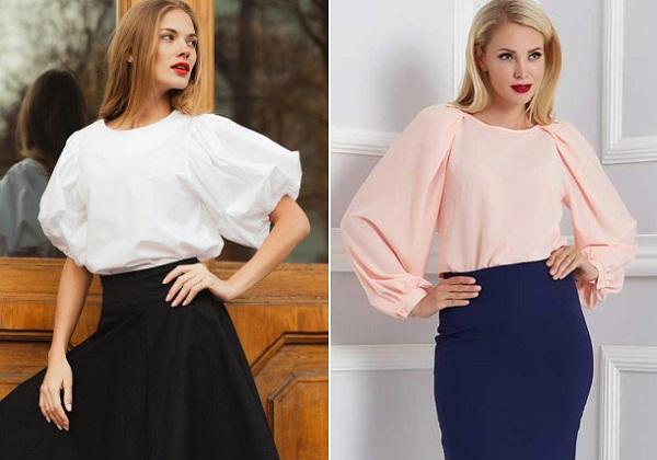 модный весенний женский образ блуза с пышными рукавами
