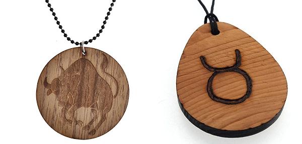 подвеска знак зодиака телец из дерева