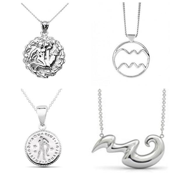 Кулоны со знаком зодиака Водолей из серебра