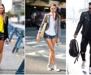 Стильные сочетания денима и белых кроссовок Puma и других брендов