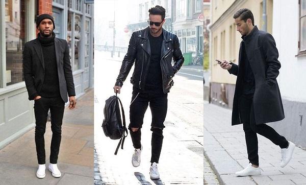 мужчины в черном и белых кроссовках
